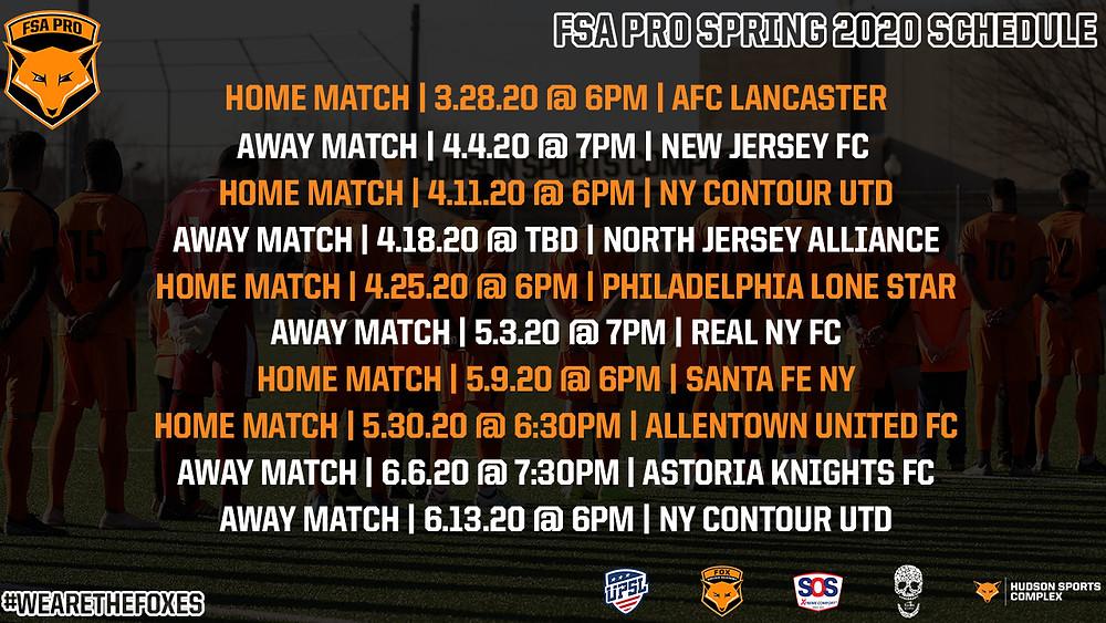 FSA PRO Spring 2020 United Premier Soccer League Schedule