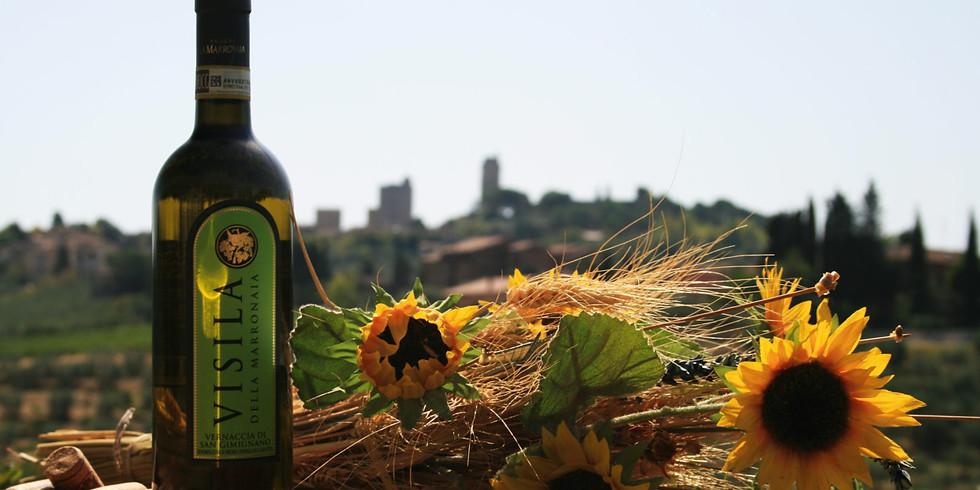 Degustazione toscana con vista sulle torri di San Gimignano