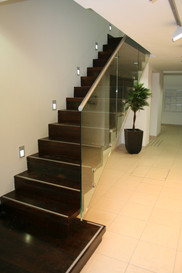 Staircase with steel inlays