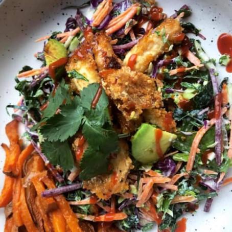 Rice crumbed Crispy Chicken With coriander Yoghurt Dressing & Pineapple Salsa