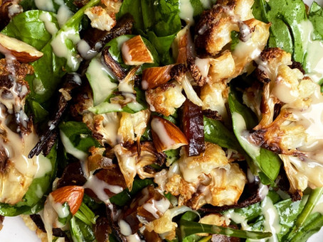 Roasted Cauliflower, Spinach & Date salad