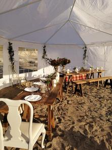 Birthday dinner in a beachside gazebo