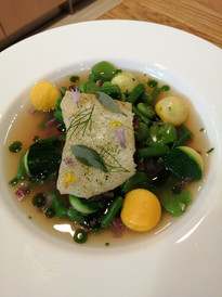 Steamed turbot and parmesan gnocchi