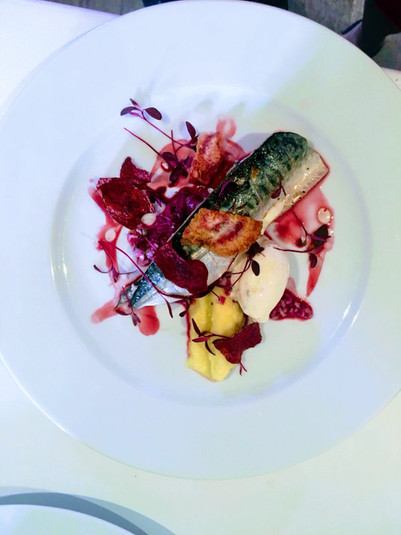 Mackerel with textures of beetroot