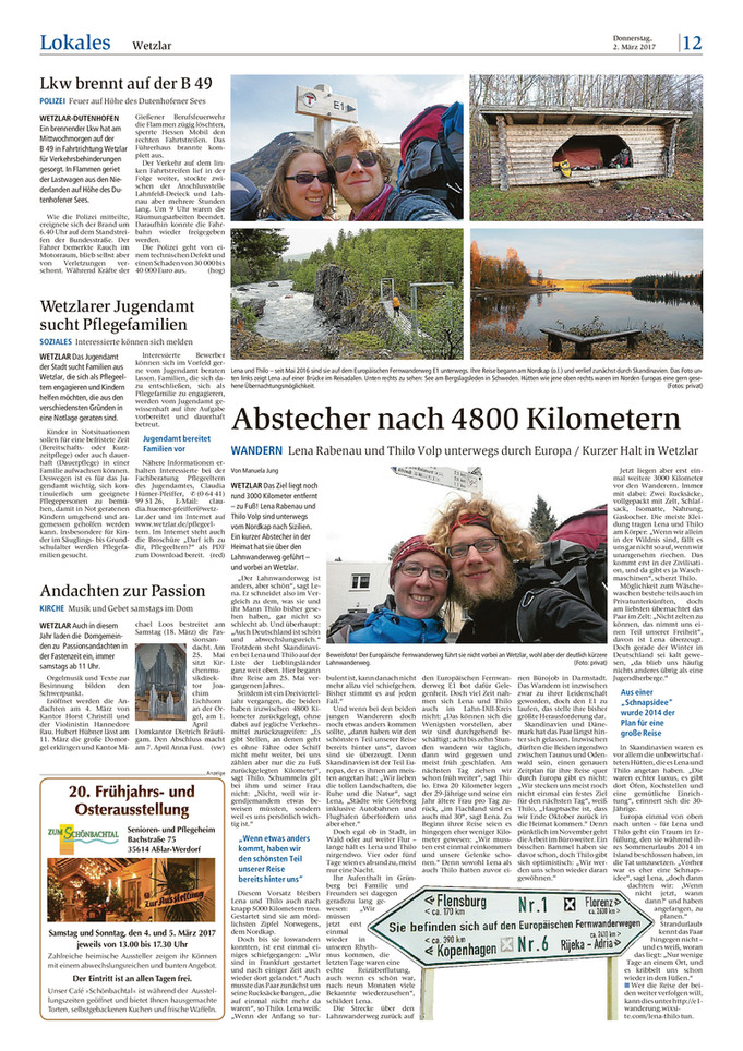 Zeitungsartikel über unsere Tour
