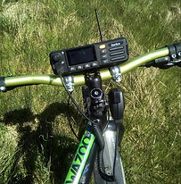 Inrico TM-7 on mountain bike handlebars.
