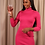 Thumbnail: Pink roll neck ribbed bodycon dress