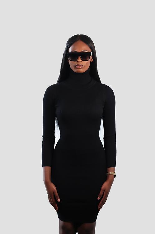 Roll neck rib mini dress