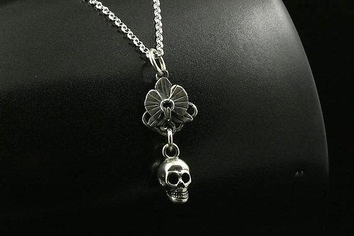 Skulpt Skull and Orchid Pendant