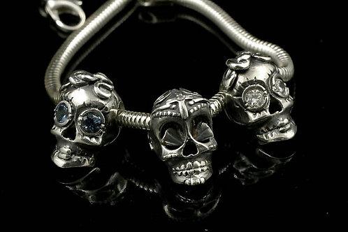 Silver Sugar Skull Starter Bracelet
