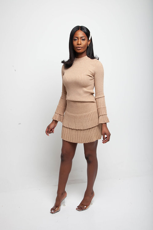 Glittery double layer skirt co ord