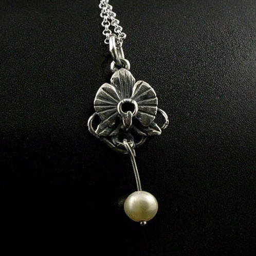 Orchid and Pearl Pendant