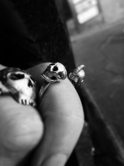 Mohawk Skull and Skull Torque Ring