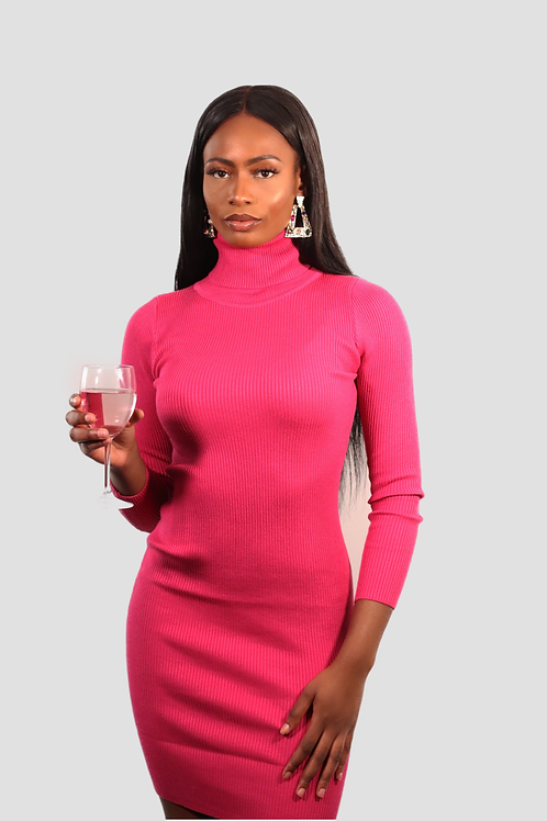 Pink roll neck ribbed bodycon dress