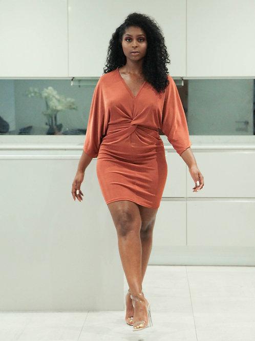 Twist front slinky mini dress