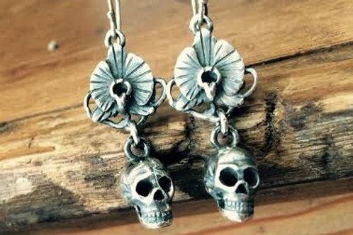 Skulpt Skull and Orchid Earrings
