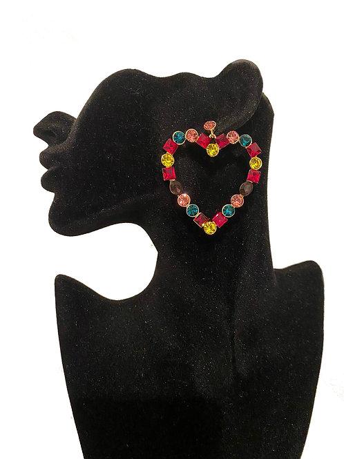 Heart rhinestone diamante earrings