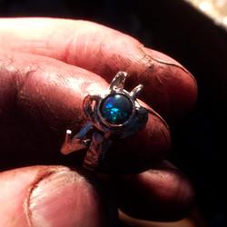 Black Opal Dragon Claw Ring