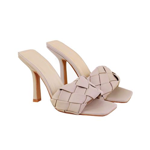 Tan padded box slip on heels
