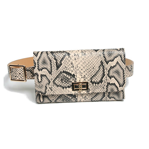 printed faux leather waist bag