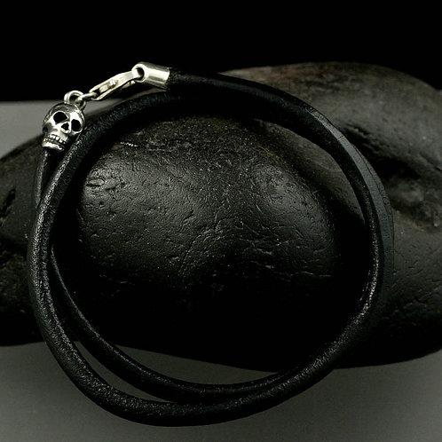 Gents Sugar Skull Leather Bracelet