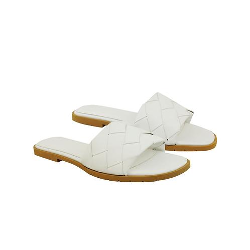 White woven slip on sandals