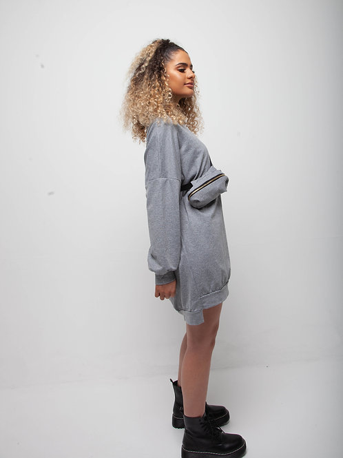 Grey bum bag sweater dress