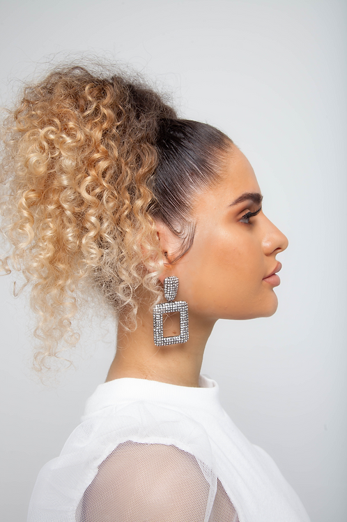 Square drop diamante earrings