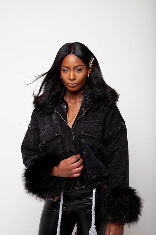Fur detail denim jacket