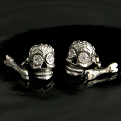 Sugar Skull Cufflinks (Diamante)