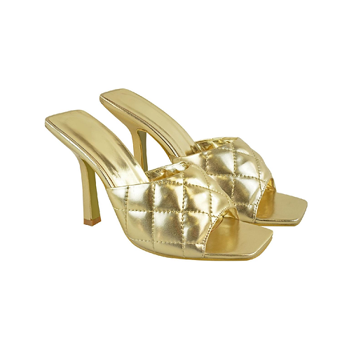 Gold quilted slip on heels