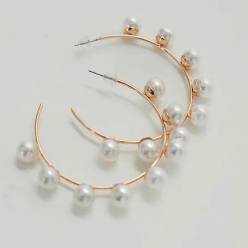 Pearl detail hoop earrings