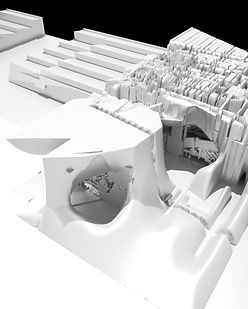 rooftop structure,gallery,film studio,rooftop restaurant,rooftop garden,rooftop gallery,complex structure,culver city,shabnam moravveji,Eric Owen Moss,Sci-Arc,3dcoat,new cave,path,roof top architecture design,complex structure,innovation,cave space,awkward space