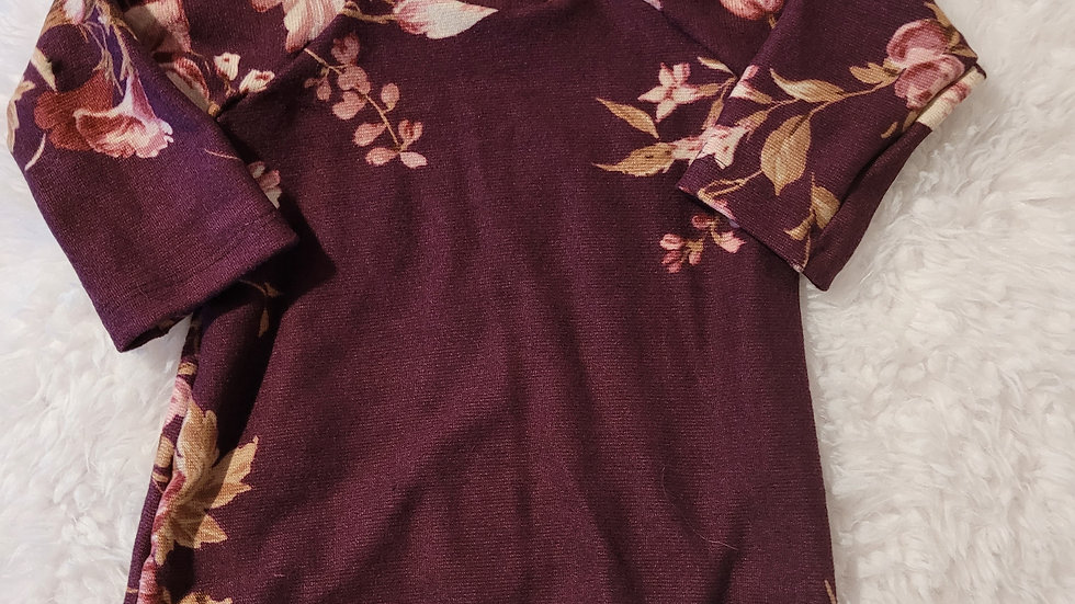 Purple Floral Tunic Sweater