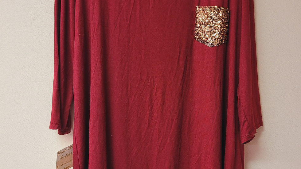 Long sleeve red top w/ gold sequin pocket