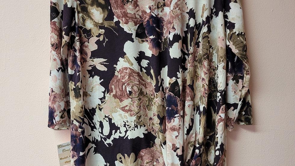 Long sleeve purple floral top