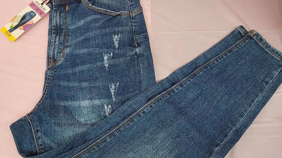 High Rise Wax Brand Jeans