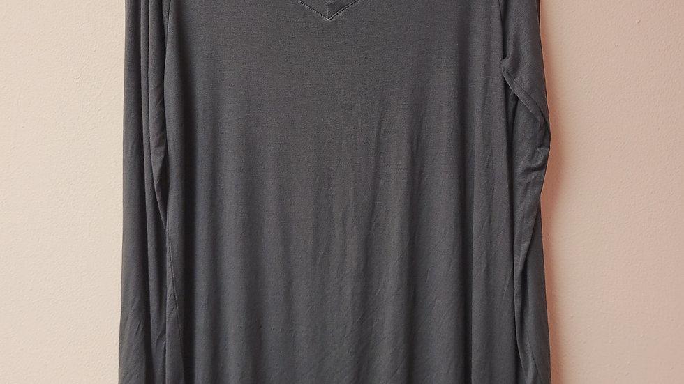 Long sleeve grey v-neck top