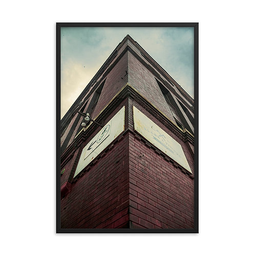 Framed poster of Corner view of a Building in the West Bottoms of Kansas City