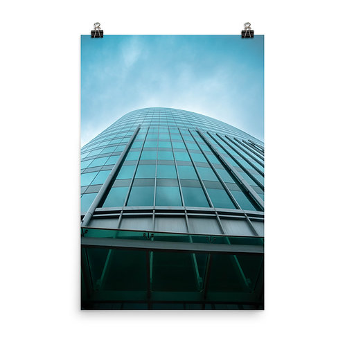 Poster of the Outside of a Glass Skyscraper in Kansas City