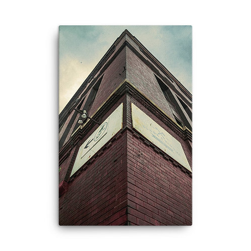 Canvas of Corner view of a Building in the West Bottoms of Kansas City