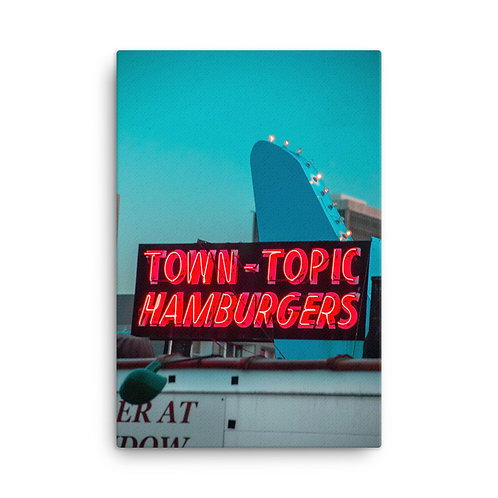 Canvas of the Neon Town Topic Hamburgers Sign