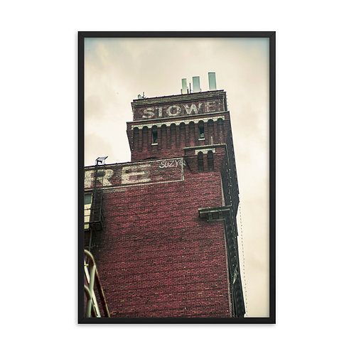 Framed poster of the Stowe Building in the West Bottoms of Kansas City