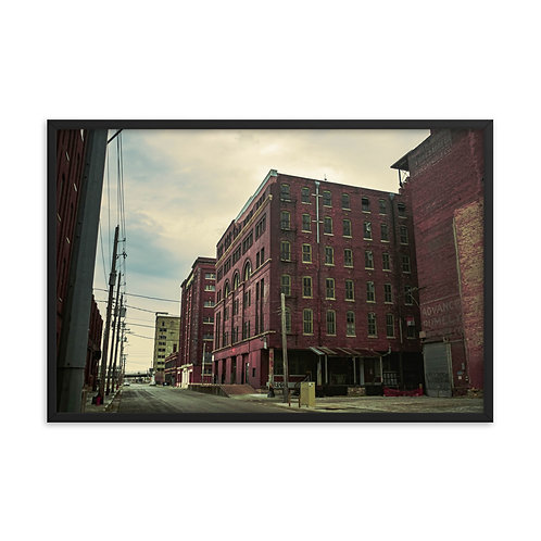 Framed poster of a few Old Buildings in the West Bottoms of Kansas City