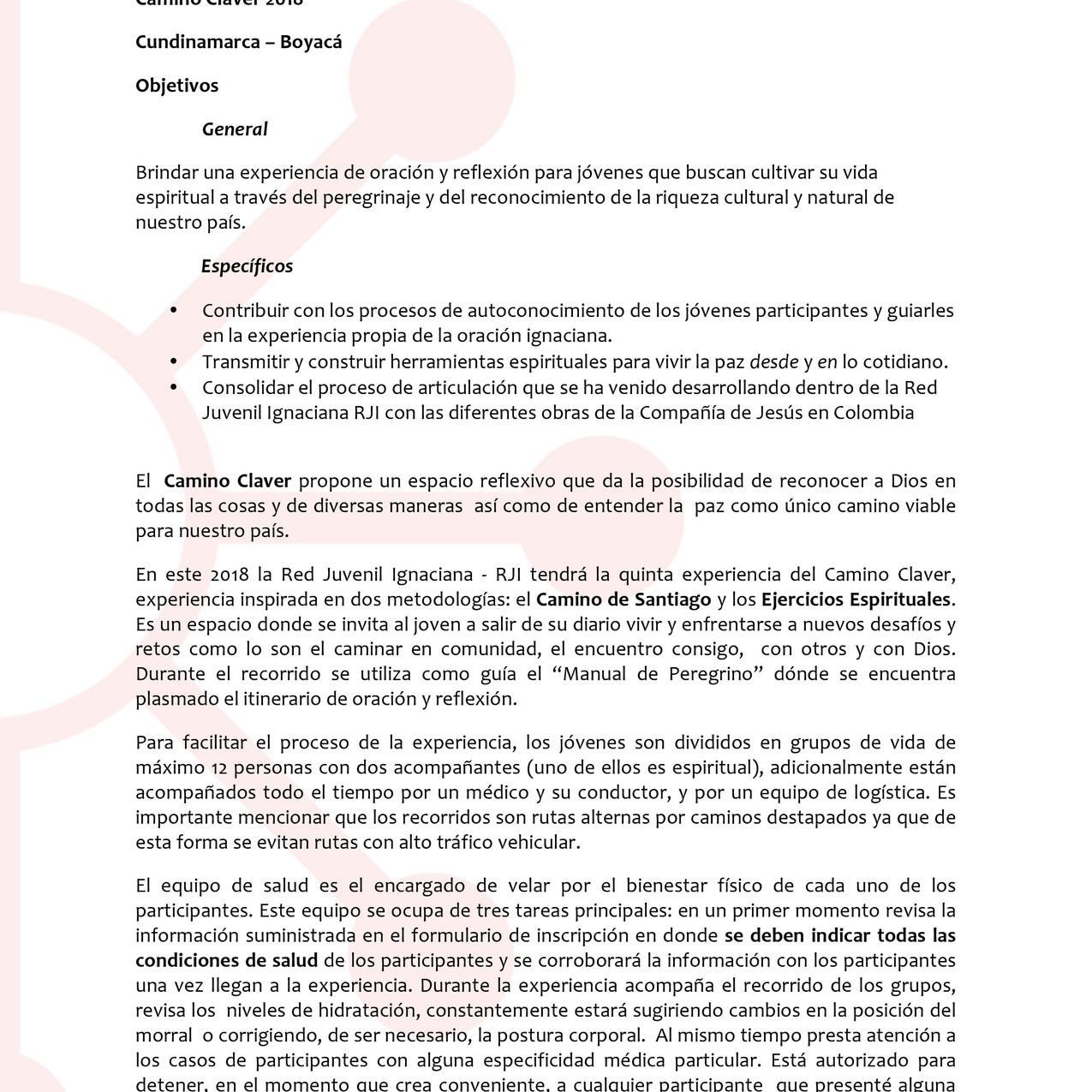 Comunicado 001 -Camino Claver 2018-1