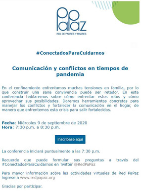 Invitación a Conferencia virtual: #ConectadosParaCuidarnos - Red Papaz
