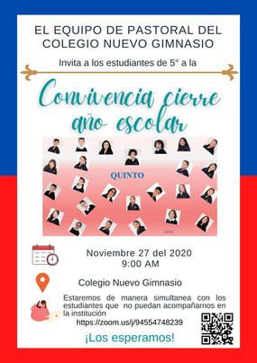 Viernes 27 de noviembre, 9:00 a.m. - Invitación a grado 5 convivencia cierre año escolar.