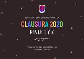 Jueves 3 de diciembre, 8 a.m. - Clausura Nivel 1 y 2