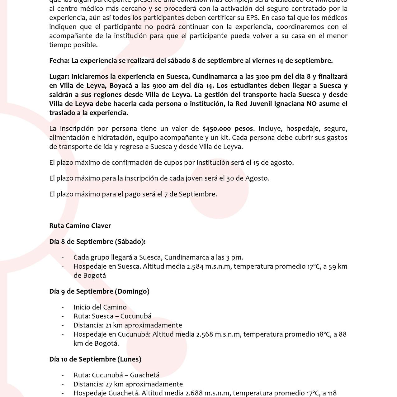 Comunicado 001 -Camino Claver 2018-2