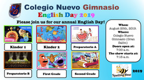 Martes 20 de agosto, invitación English Day 2019